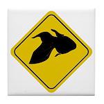 Goldfish Crossing Sign Tile Coaster