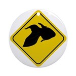Goldfish Crossing Sign Ornament (Round)