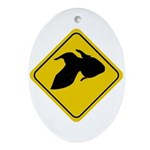 Goldfish Crossing Sign Oval Ornament