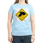 Goldfish Crossing Sign Women's Pink T-Shirt