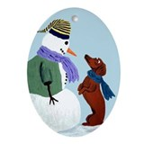 Dachshund And Snowman Ornament (Oval)