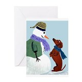 Dachshund And Snowman Greeting Card