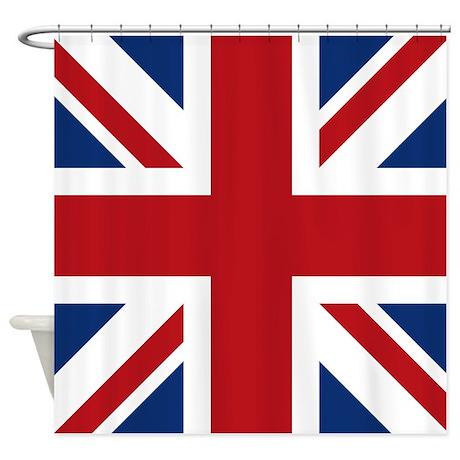 United Kingdom Union Jack Flag Shower Curtain Use Code FREECART At Checkout
