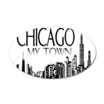 Chicago My Town 38.5 x 24.5 Oval Wall Peel