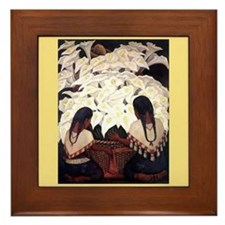 Diego Rivera Art Framed Tile Cala Lilies 2 Girls