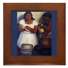Diego Rivera Art Framed Tile The Tortilla Maker