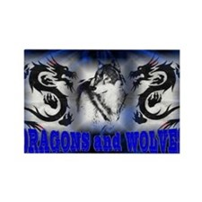 Dragons and Wolves Rectangle Magnet (10 pack)