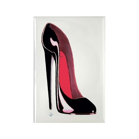 Black Stiletto Shoe Rectangle Magnet