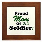 Proud Mom 2 Soldiers Framed Tile