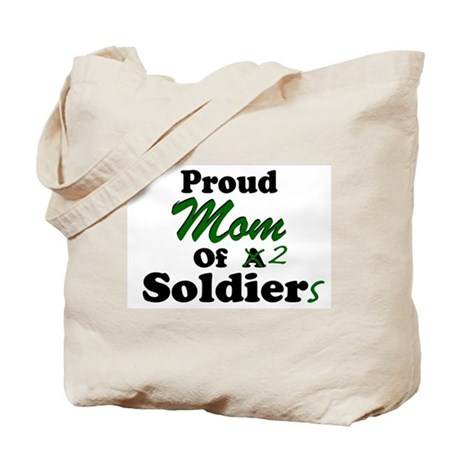 Proud Mom 2 Soldiers Tote Bag