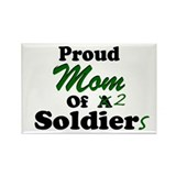 Proud Mom 2 Soldiers Rectangle Magnet