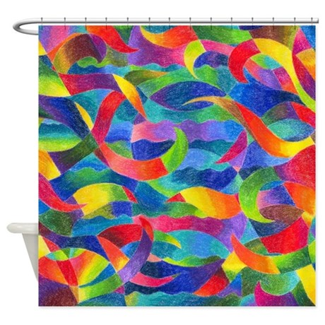 Cosmic Ribbons Rainbow Shower Curtain