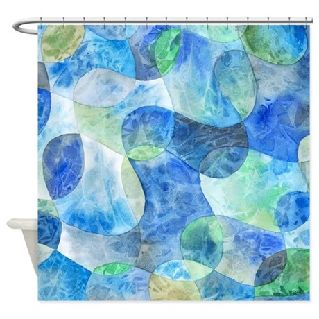 Aquatic abstract watercolor shower curtain original Swimming pool shower curtain