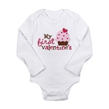 1st Valentines Day Cupcake Long Sleeve Infant Body