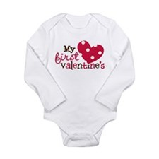 1st Valentines Day Heart Long Sleeve Infant Bodysu