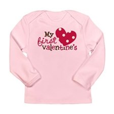 1st Valentines Day Heart Long Sleeve Infant T-Shir