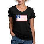 American flag Women's V-Neck Dark T-Shirt