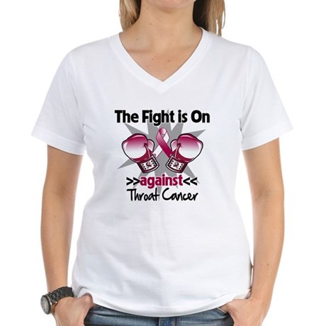 Fight is On Throat Cancer Women's V-Neck T-Shirt
