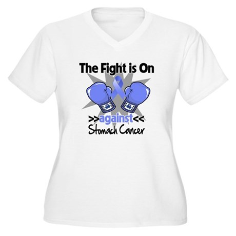 Fight is On Stomach Cancer Women's Plus Size V-Nec