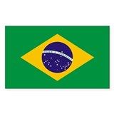 Brazil World Flag Bumper Rectangle Decal