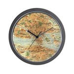 Vintage Stockholm Sweden Map Wall Clock