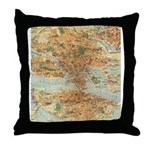 Vintage Stockholm Sweden Map Throw Pillow