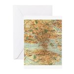 Vintage Stockholm Sweden Map Greeting Cards (Pk of