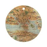 Vintage Stockholm Sweden Map Ornament (Round)
