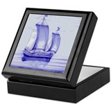 Blue Ship Tile: Keepsake Box