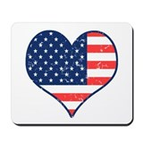 Patriotic Heart with Flag Mousepad