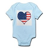 Patriotic Heart with Flag Infant Creeper
