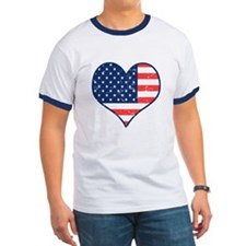 Patriotic Heart with Flag T