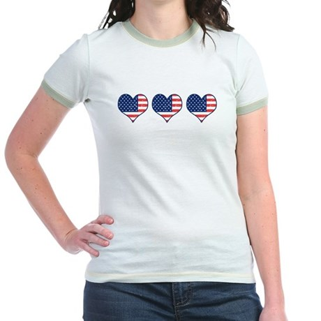 Little Patriotic Hearts Jr. Ringer T-Shirt
