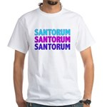 Rick Santorum Purple & Teal White T-Shirt