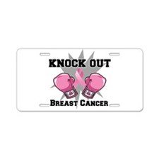 Knock Out Breast Cancer Aluminum License Plate