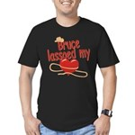 Bruce Lassoed My Heart Men's Fitted T-Shirt (dark)