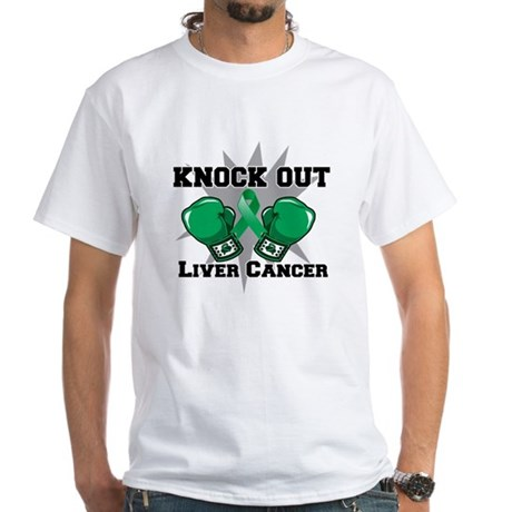 Knock Out Liver Cancer White T-Shirt