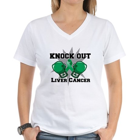 Knock Out Liver Cancer Women's V-Neck T-Shirt