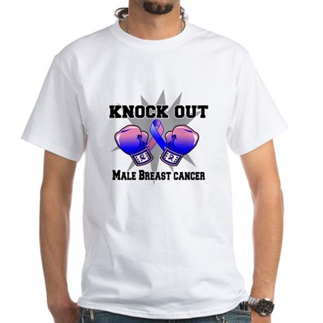 Knock Male Breast Cancer White T-Shirt