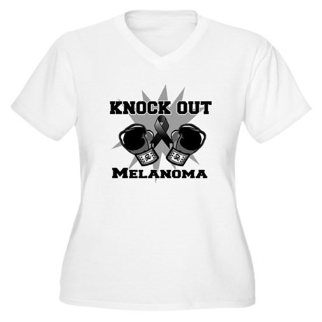 Knock Out Melanoma Women's Plus Size V-Neck T-Shir