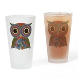 Little Colorful Owl Drinking Glass