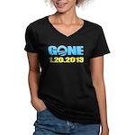 GONE 1.20.2013 Women's V-Neck Dark T-Shirt