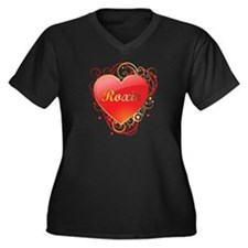 Roxie Valentines Women's Plus Size V-Neck Dark T-S