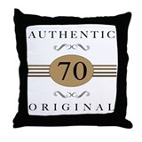 Authentic 70th Birthday Throw Pillow