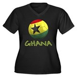 Team Ghana Women's Plus Size V-Neck Dark T-Shirt