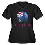 Team Australia Women's Plus Size V-Neck Dark T-Shi