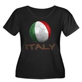 Team Italy Women's Plus Size Scoop Neck Dark T-Shi