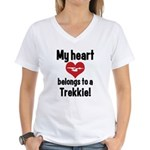 My Heart Belongs to a Trekkie Women's V-Neck T-Shi