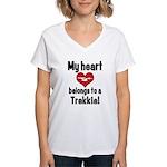 My Heart Belongs to a Trekkie Women's V-Neck T-Shi