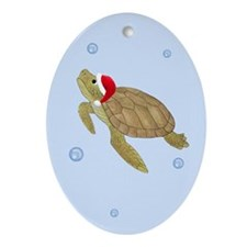 Santa - Christmas Turtle Ornament (Oval)